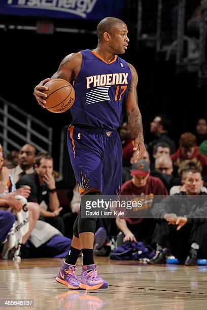 J Tucker of the Phoenix Suns dribbles the ball against the Cleveland Cavaliers at The Quicken Loans Arena on January 26 2014 in Cleveland Ohio NOTE...