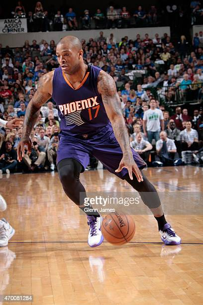 J Tucker of the Phoenix Suns drives against the Dallas Mavericks on April 8 2015 at the American Airlines Center in Dallas Texas NOTE TO USER User...