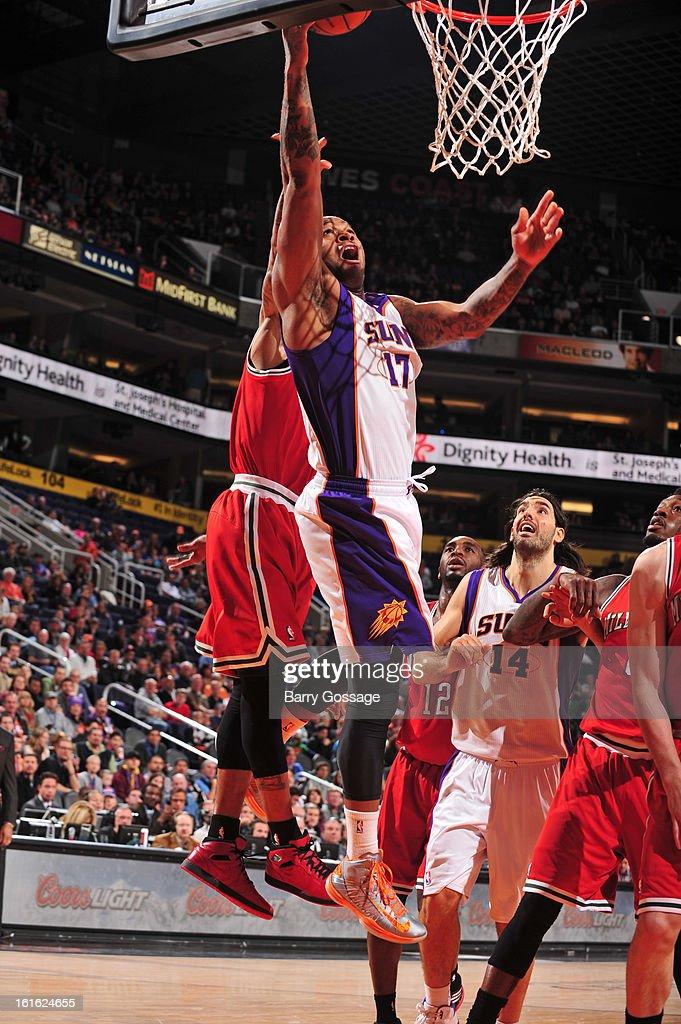 P.J. Tucker #17 of the Phoenix Suns drives to the basket against the Milwaukee Bucks on January 17, 2013 at U.S. Airways Center in Phoenix, Arizona.