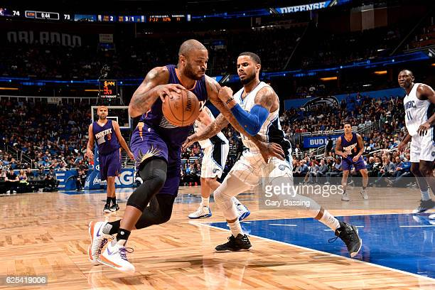 J Tucker of the Phoenix Suns drives to the basket during the game against the Orlando Magic on November 23 2016 at Amway Center in Orlando Florida...