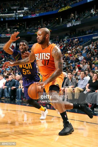 J Tucker of the Phoenix Suns drives to the basket during the game against the New Orleans Pelicans on February 6 2017 at the Smoothie King Center in...