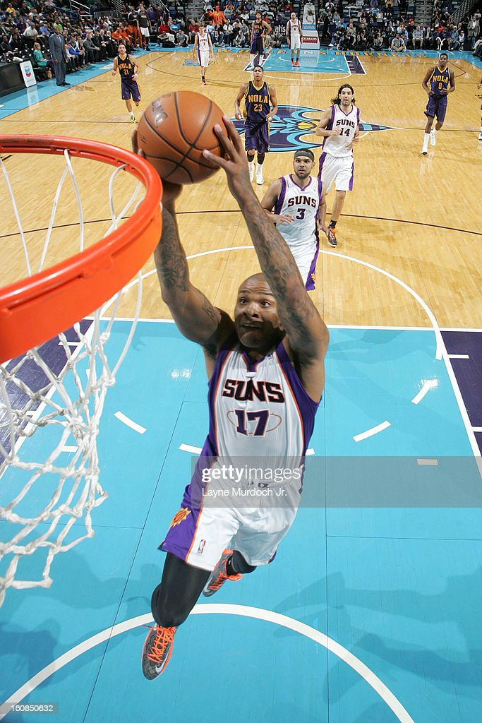 P.J. Tucker #17 of the Phoenix Suns dunks against the New Orleans Hornets on February 06, 2013 at the New Orleans Arena in New Orleans, Louisiana.