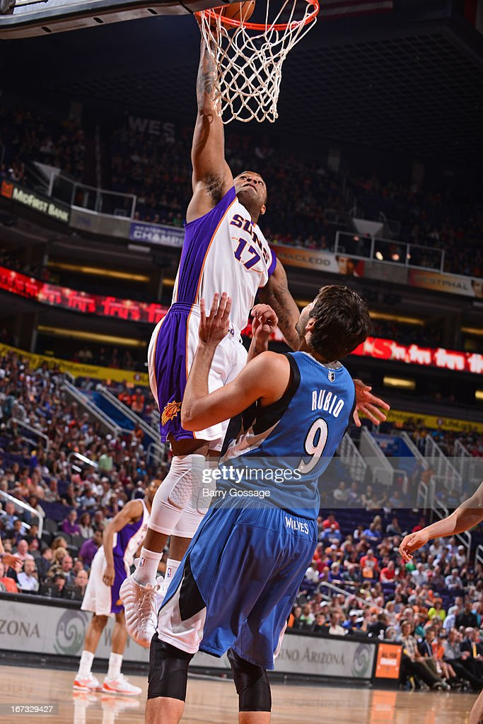 P.J. Tucker #17 of the Phoenix Suns dunks the ball against the Minnesota Timberwolves on March 22, 2013 at U.S. Airways Center in Phoenix, Arizona.