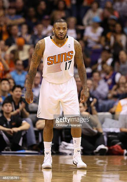 J Tucker of the Phoenix Suns during the NBA game against the Oklahoma City Thunder at US Airways Center on April 6 2014 in Phoenix Arizona The Suns...