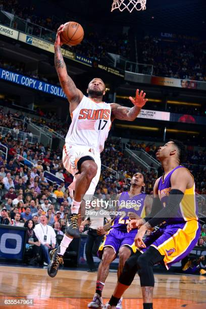 J Tucker of the Phoenix Suns goes for a lay up during the game against the Los Angeles Lakers on February 15 2017 at US Airways Center in Phoenix...