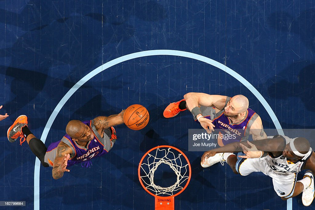 P.J. Tucker #17 of the Phoenix Suns grabs a rebound against the Memphis Grizzlies on February 5, 2013 at FedExForum in Memphis, Tennessee.