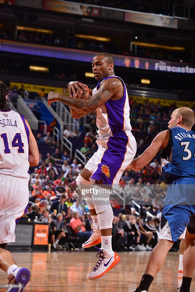 P.J. Tucker #17 of the Phoenix Suns grabs a rebound against the Minnesota Timberwolves on March 22, 2013 at U.S. Airways Center in Phoenix, Arizona.
