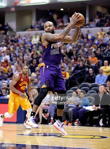 Tucker of the Phoenix Suns grabs a rebound during the game against the Indiana Pacers at Bankers Life Fieldhouse on November 18 2016 in Indianapolis...