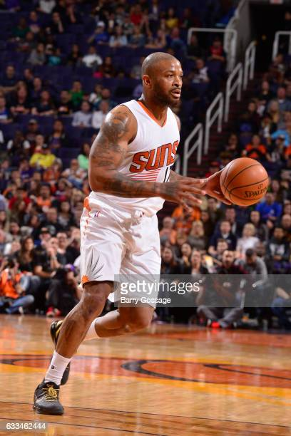 J Tucker of the Phoenix Suns handles the ball against the LA Clippers on February 1 2017 at Talking Stick Resort Arena in Phoenix Arizona NOTE TO...
