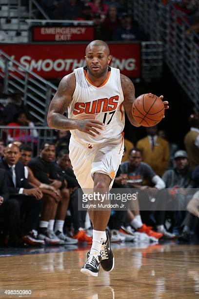 J Tucker of the Phoenix Suns handles the ball against the New Orleans Pelicans on November 22 2015 at the Smoothie King Center in New Orleans...