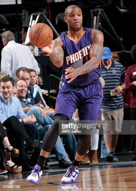J Tucker of the Phoenix Suns handles the ball against the on April 8 2015 at the American Airlines Center in Dallas Texas NOTE TO USER User expressly...