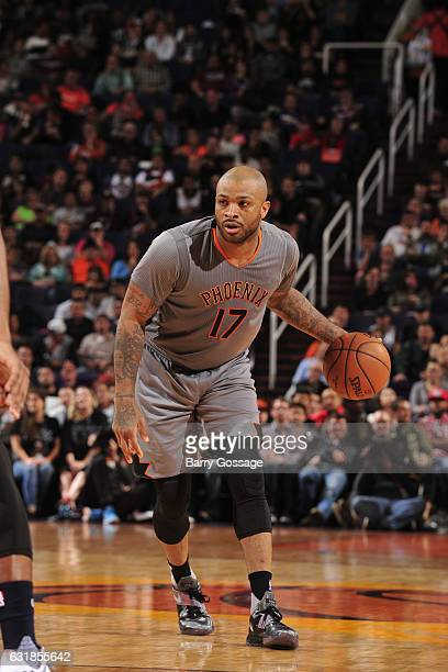 J Tucker of the Phoenix Suns handles the ball against the Utah Jazz on January 16 2017 at Talking Stick Resort Arena in Phoenix Arizona NOTE TO USER...