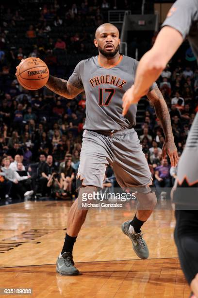 J Tucker of the Phoenix Suns handles the ball during the game against the New Orleans Pelicans on February 13 2017 at US Airways Center in Phoenix...