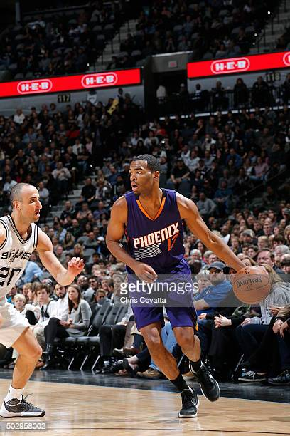 J Tucker of the Phoenix Suns handles the ball during the game nio Spurs on December 30 2015 at the ATT Center in San Antonio Texas NOTE TO USER User...