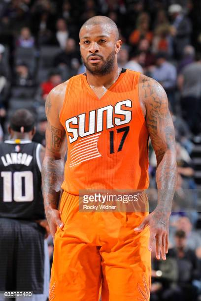 Tucker of the Phoenix Suns looks on during the game against the Sacramento Kings on February 3 2017 at Golden 1 Center in Sacramento California NOTE...