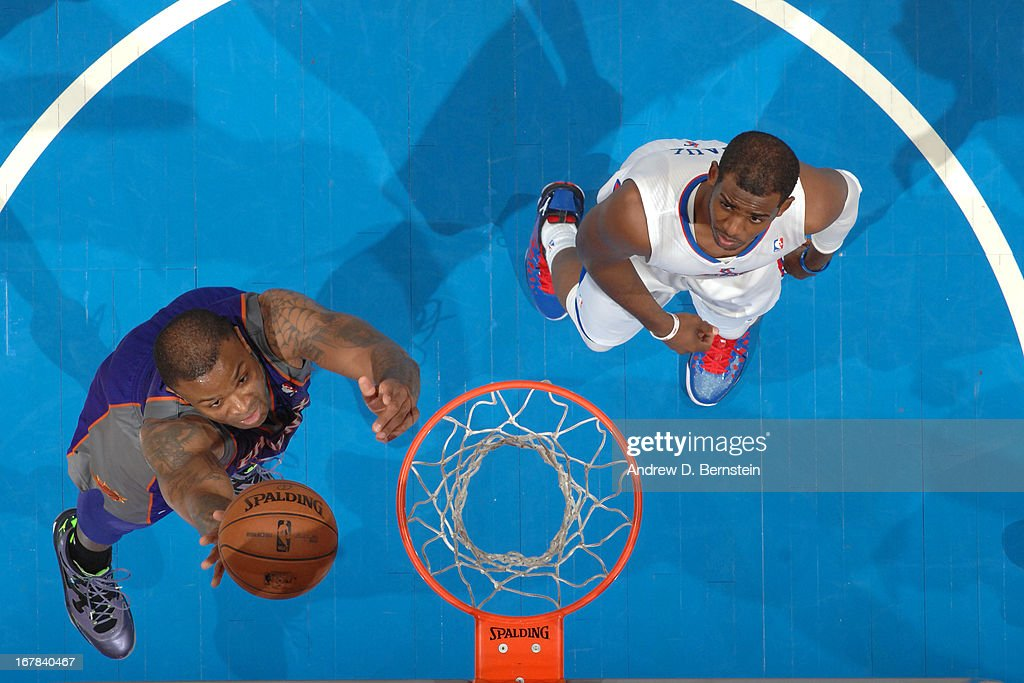 P.J. Tucker #17 of the Phoenix Suns puts up a shot against the Los Angeles Clippers at Staples Center on April 3, 2013 in Los Angeles, California.