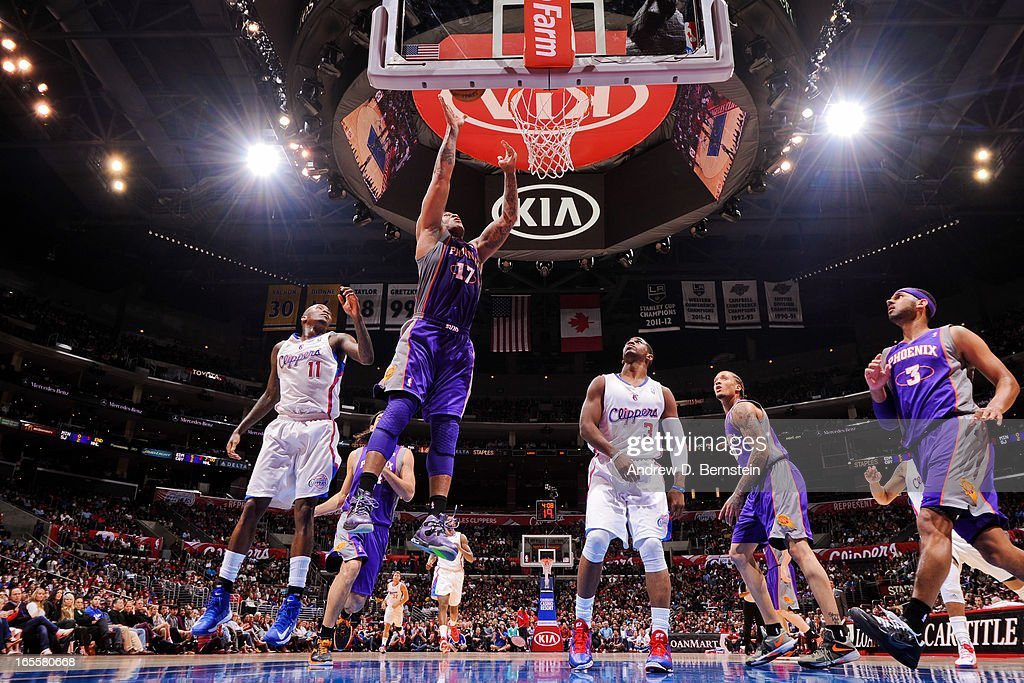 P.J. Tucker #17 of the Phoenix Suns shoots a layup against the Los Angeles Clippers at Staples Center on April 3, 2013 in Los Angeles, California.
