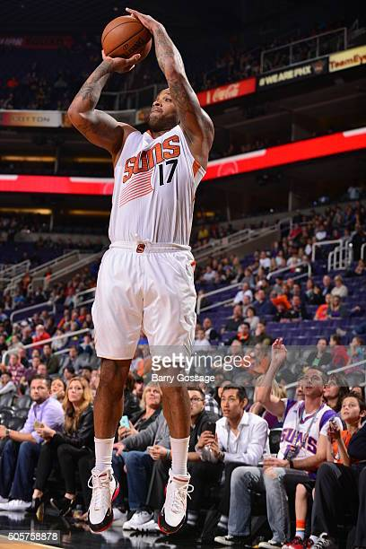 J Tucker of the Phoenix Suns shoots against the Indiana Pacers on January 19 2016 at Talking Stick Resort Arena in Phoenix Arizona NOTE TO USER User...