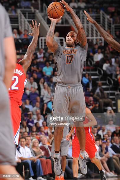 J Tucker of the Phoenix Suns shoots against the Los Angeles Clippers on November 12 at Talking Stick Resort Arena in Phoenix Arizona NOTE TO USER...