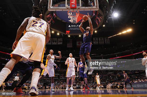 J Tucker of the Phoenix Suns shoots against the Los Angeles Lakers at STAPLES Center on March 30 2014 in Los Angeles California NOTE TO USER User...