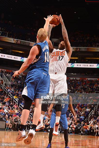 J Tucker of the Phoenix Suns shoots against the Minnesota Timberwolves on February 25 2014 at US Airways Center in Phoenix Arizona NOTE TO USER User...