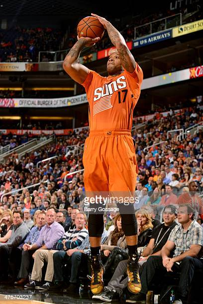 J Tucker of the Phoenix Suns shoots against the New Orleans Pelicans on February 28 2014 at US Airways Center in Phoenix Arizona NOTE TO USER User...