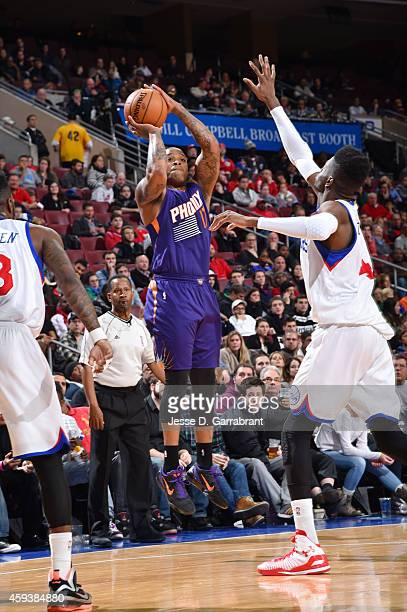 J Tucker of the Phoenix Suns shoots against the Philadelphia 76ers during the game on November 21 2014 at Wells Fargo Center in Philadelphia...