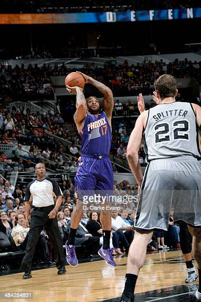 PJ Tucker of the Phoenix Suns shoots against the San Antonio Spurs at the ATT Center on April 11 2014 in San Antonio Texas NOTE TO USER User...