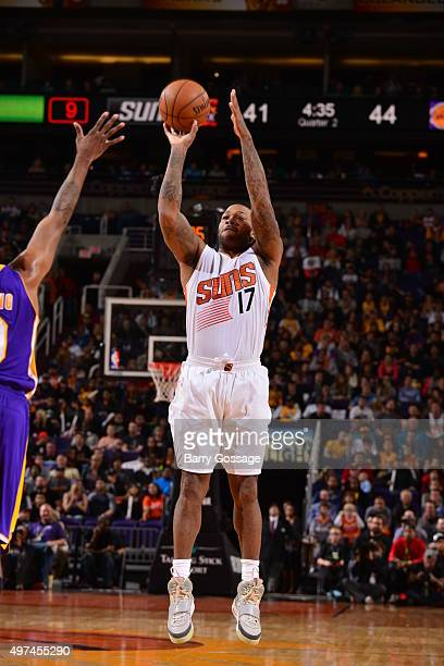 J Tucker of the Phoenix Suns shoots the ball against the Los Angeles Lakers on November 16 2015 at Talking Stick Resort Arena in Phoenix Arizona NOTE...
