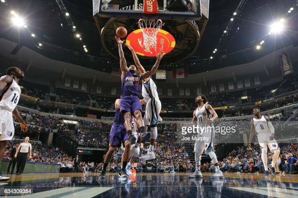 J Tucker of the Phoenix Suns shoots the ball during a game against the Memphis Grizzlies on February 8 2017 at FedExForum in Memphis Tennessee NOTE...