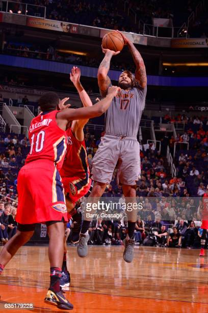 J Tucker of the Phoenix Suns shoots the ball during a game against the New Orleans Pelicans on February 13 2017 at Talking Stick Resort Arena in...