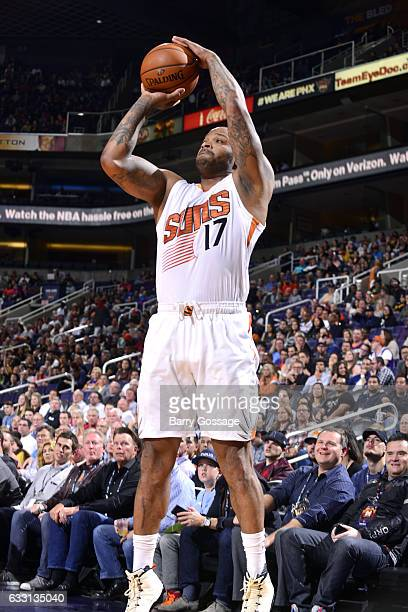 J Tucker of the Phoenix Suns shoots the ball during the game against the Memphis Grizzlies on January 30 2017 at US Airways Center in Phoenix Arizona...