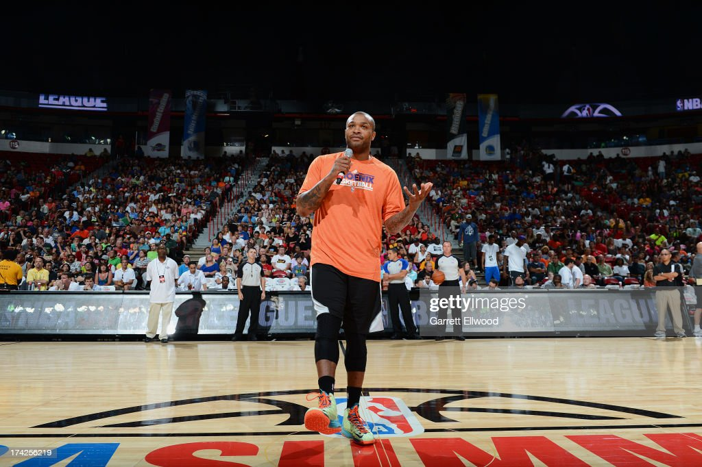 PJ Tucker #17 of the Phoenix Suns speaks to the crowd against the Golden State Warriors during NBA Summer League Championship Game on July 22, 2013 at the Cox Pavilion in Las Vegas, Nevada.