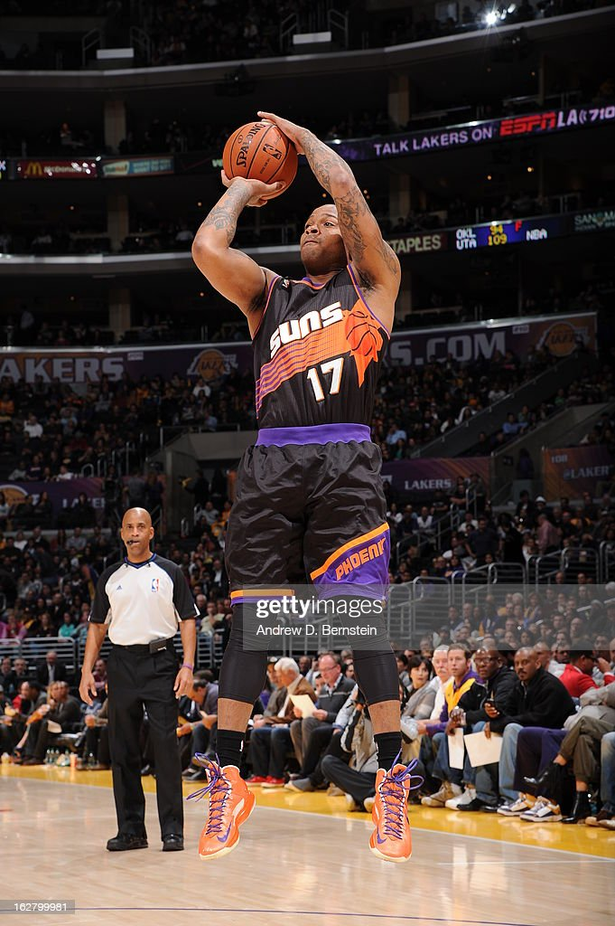 P.J. Tucker #17 of the Phoenix Suns takes a shot against the Los Angeles Lakers at Staples Center on February 12, 2013 in Los Angeles, California.