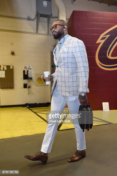 Tucker of the Toronto Raptors arrives before the game against the Cleveland Cavaliersduring Game Two of the Eastern Conference Semifinals of the 2017...