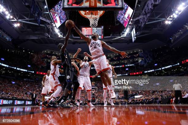 Tucker of the Toronto Raptors blocks the shot against the Milwaukee Bucks during Game Five of the Eastern Conference Quarterfinals of the 2017 NBA...