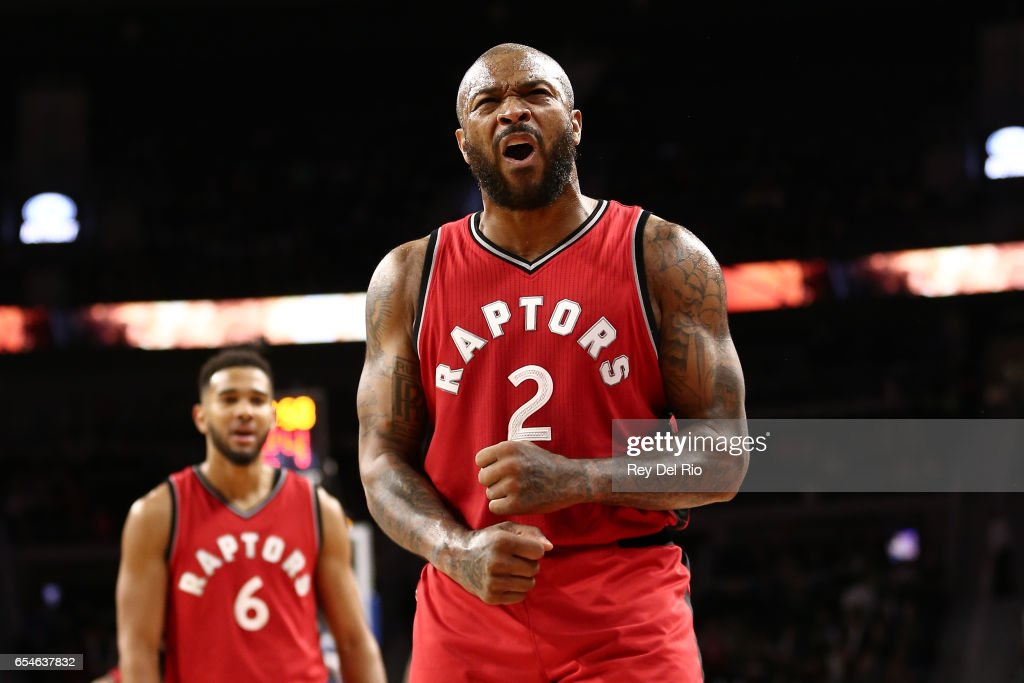 P.J. Tucker #2 of the Toronto Raptors celebrates after a Detroit Pistons turnover late in the in the second half at the Palace of Auburn Hills on March 17, 2017 in Auburn Hills, Michigan.