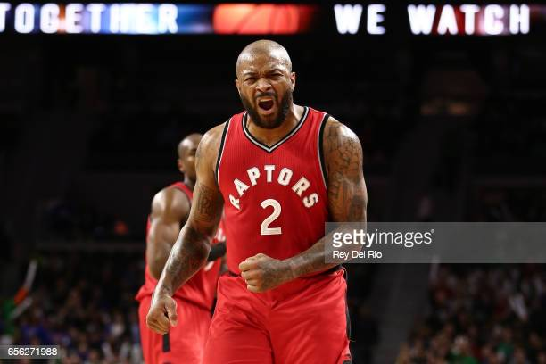 J Tucker of the Toronto Raptors celebrates after a Detroit Pistons turnover late in the second half at the Palace of Auburn Hills on March 17 2017 in...