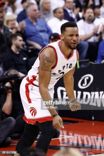 Tucker of the Toronto Raptors celebrates during the game against the Cleveland Cavaliers in Game Three of the Eastern Conference Semifinals during...