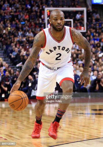 J Tucker of the Toronto Raptors dribbles the ball during the first half of an NBA game against the Boston Celtics at Air Canada Centre on February 24...