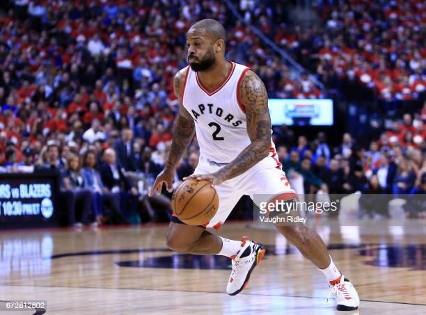 J Tucker of the Toronto Raptors dribbles the ball in the first half of Game Five of the Eastern Conference Quarterfinals against the Milwaukee Bucks...