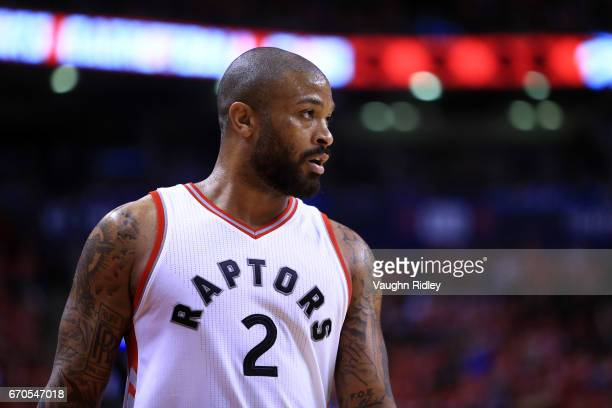 J Tucker of the Toronto Raptors dribbles the ball in the second half of Game Two of the Eastern Conference Quarterfinals against the Milwaukee Bucks...