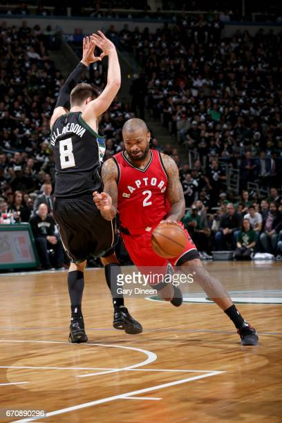 PJ Tucker of the Toronto Raptors drives to the basket against the Milwaukee Bucks during Game Three of the Eastern Conference Quarterfinals of the...