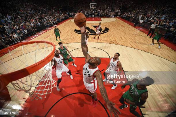 J Tucker of the Toronto Raptors grabs the rebound against the Boston Celtics on February 24 2017 at the Air Canada Centre in Toronto Ontario Canada...