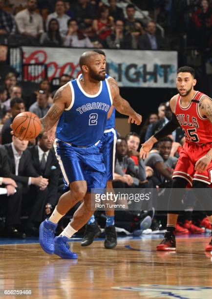 Tucker of the Toronto Raptors handles the ball against the Chicago Bulls during the game on March 21 2017 at the Air Canada Centre in Toronto Ontario...