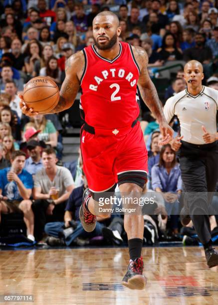 J Tucker of the Toronto Raptors handles the ball against the Dallas Mavericks on March 25 2017 at the American Airlines Center in Dallas Texas NOTE...
