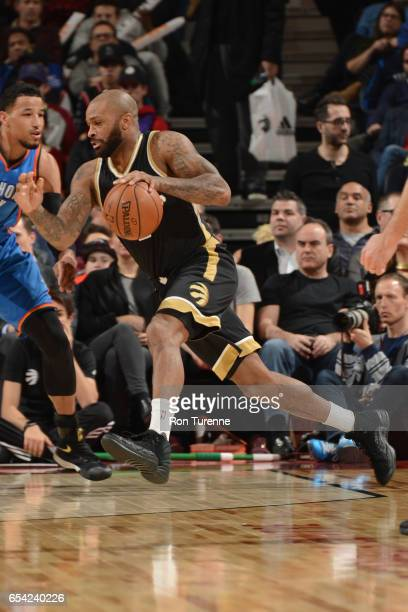 J Tucker of the Toronto Raptors handles the ball during a game against the Oklahoma City Thunder on March 16 2017 at the Air Canada Centre in Toronto...