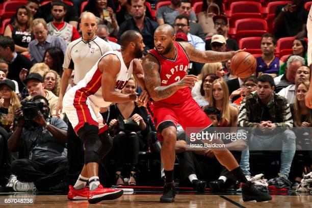 Tucker of the Toronto Raptors handles the ball during the game against the Miami Heat on March 23 2017 at AmericanAirlines Arena in Miami Florida...