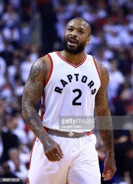 J Tucker of the Toronto Raptors reacts after scoring during the first half of Game Four of the Eastern Conference Semifinals against the Cleveland...