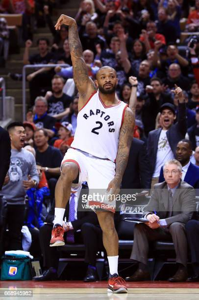 J Tucker of the Toronto Raptors reacts after sinking a 3pointer in the second half of Game One of the Eastern Conference Quarterfinals against the...